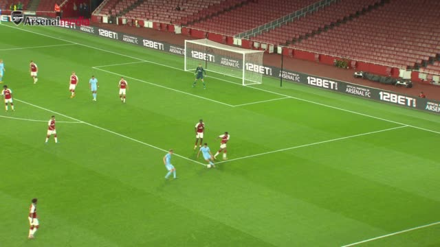 hl's of the u23's game between arsenal and man city - sports round stock videos & royalty-free footage