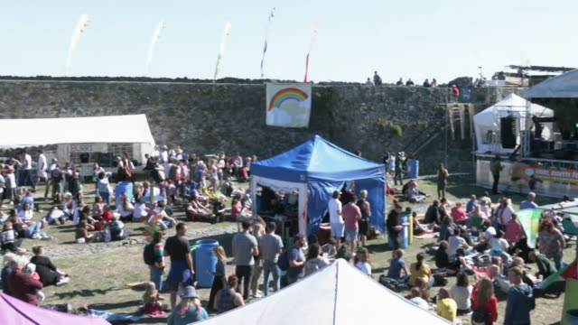 s of vale earth fair music festival in guernsey, that went ahead with no social distancing due to there being no known cases of coronavirus in... - guernsey stock videos & royalty-free footage