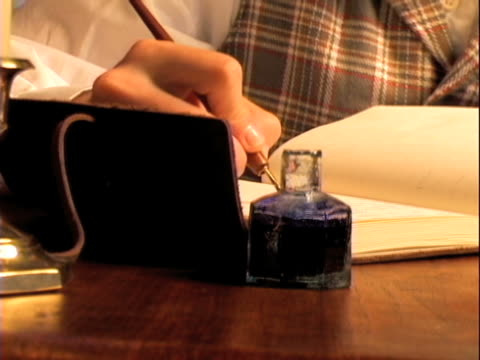 cu 1860's pan of ink well and diary - correspondence stock videos & royalty-free footage