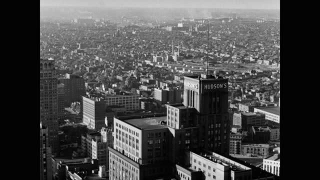 1950's panning shot of detroit cityscape, michigan, usa - 1950 stock videos & royalty-free footage