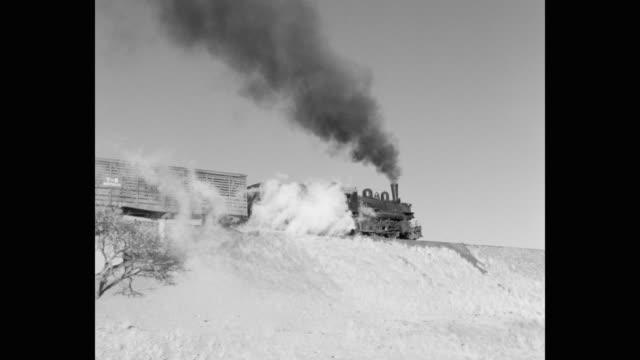 1950's - panning shot of steam train moving on railway track, arizona, usa - trasporto ferroviario video stock e b–roll