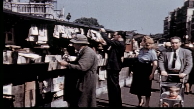 1950's paris left bank - river seine stock videos & royalty-free footage