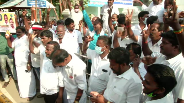 s party supporters raising slogans as they celebrated the party's decision to choose party leader e palaniswami for the upcoming state assembly... - orthographic symbol stock videos & royalty-free footage