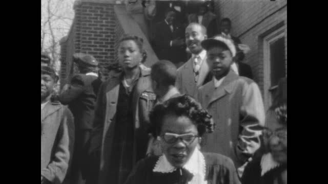 1940's - people leaving church, greenwood, tulsa, oklahoma, usa - アメリカ黒人の歴史点の映像素材/bロール