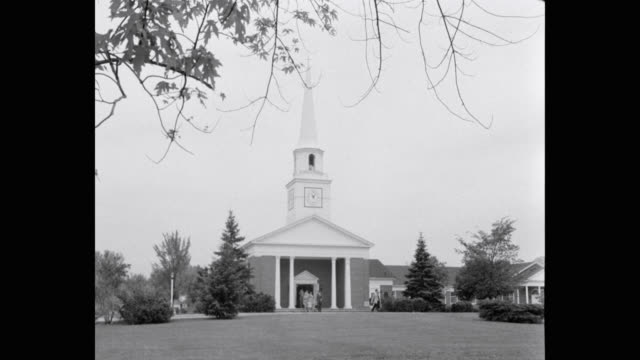 1950's - people leaving church, wide angle - religion stock videos & royalty-free footage