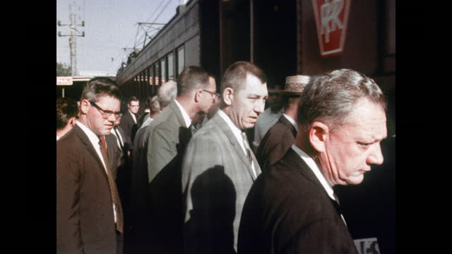"""1960's - philadelphia train commuters - """"archive farms"""" stock videos & royalty-free footage"""