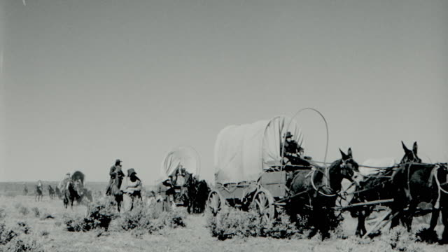 B/W 1850's REENACTMENT people riding covered wagons, horses + walking on plains in wagon train
