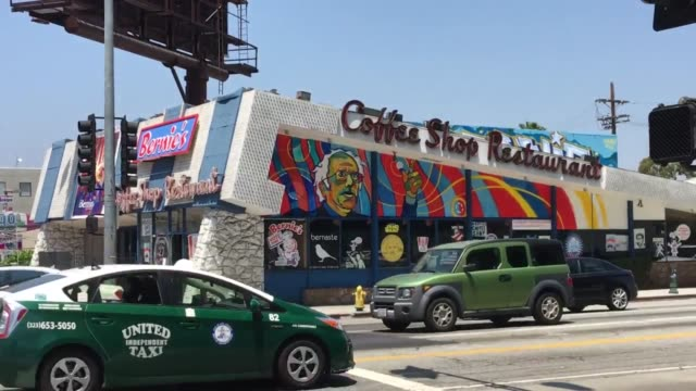 la's 'reservor dogs'/'the big lebowski' coffee shop on fairfax avenue has changed from johnie's coffee shop to bernie's coffee shop with the... - biggie smalls stock videos and b-roll footage