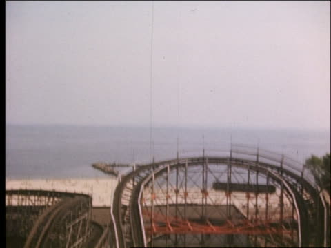 1940's roller coaster point of view uphill and downhill / cyclone / coney island - coney island stock videos and b-roll footage