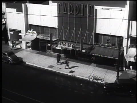 1930's sardi's restaurant exterior, hollywood ca - black and white stock videos & royalty-free footage