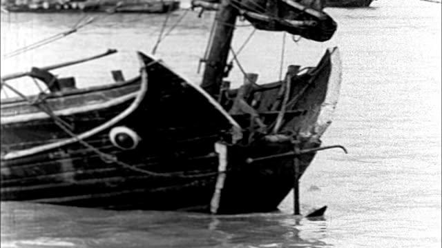 1930's shanghai river transport - river huangpu stock videos & royalty-free footage