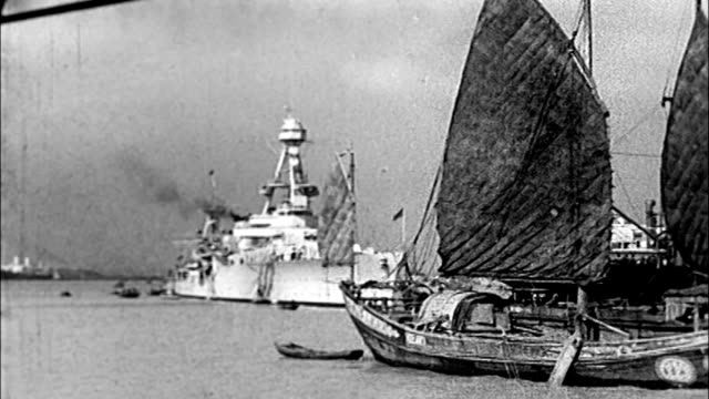 1930's shanghai, uss augusta in harbor - military ship stock videos & royalty-free footage
