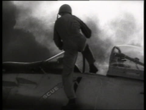 b/w 1960's soldier climbing into military airplane / vietnam / sound - only mid adult men stock videos & royalty-free footage