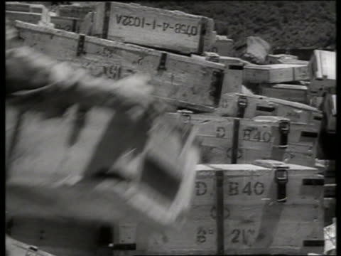 b/w 1960's soldier putting box on pile / vietnam / sound - crate stock videos & royalty-free footage