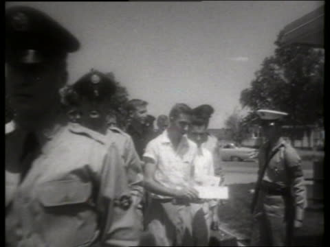 b/w 1950's soldiers and recruits walk toward and past camera / lowry air force base, denver / sound - air force stock videos & royalty-free footage