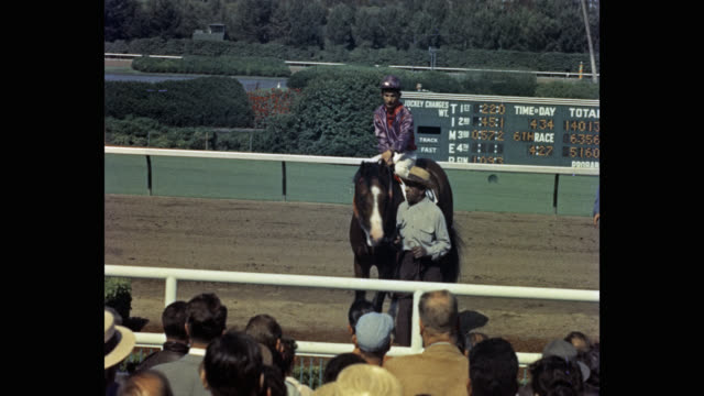 1950's - spectators watching photographer taking picture of jockey riding horse, hollywood park racetrack, inglewood, california, usa - pferderennbahn stock-videos und b-roll-filmmaterial