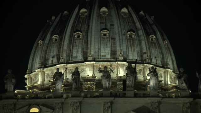 gv's st peter's basilica and st peter's square at night vatican city - state of the vatican city stock videos & royalty-free footage