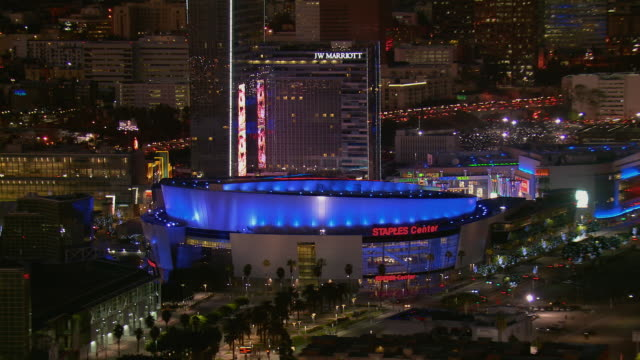 la's staples center arena at night - staples center stock videos & royalty-free footage