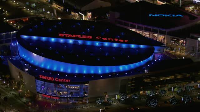 la's staples center viewed at night - staples center stock videos and b-roll footage