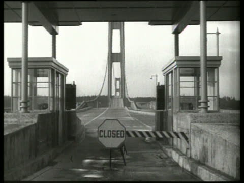 B/W 1940's toll booths with bridge in background / Tacoma Narrows Bridge / SOUND