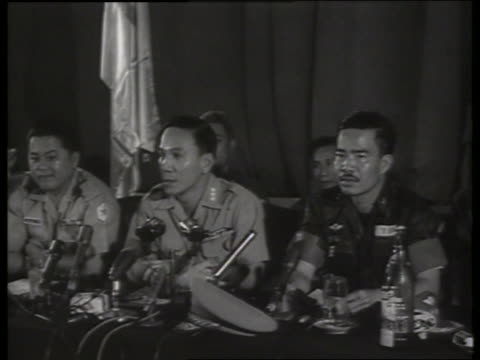 b/w 1960's vietnamese military leaders at press conference / sound - vietnamese military stock videos & royalty-free footage