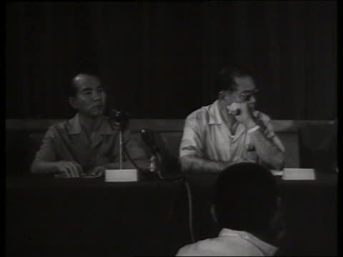 B/W 1960's Vietnamese political leaders / press conference / Vietnam / SOUND