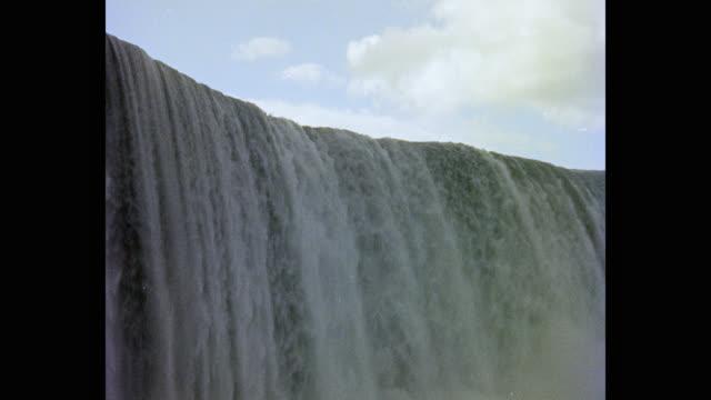 vidéos et rushes de 1950's view of niagara falls against cloudy sky, new york state, usa - chute d'eau