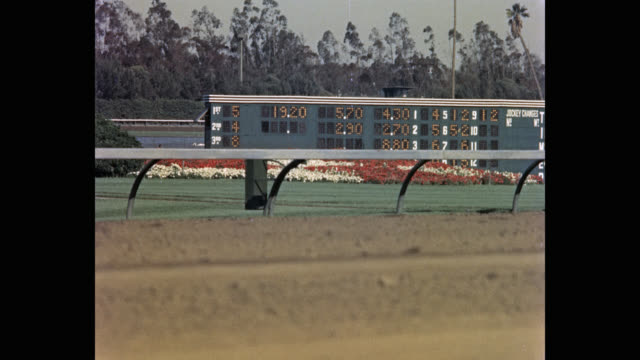 1950's - view of scoreboard at horse racecourse, hollywood park racetrack, inglewood, california, usa - pferderennbahn stock-videos und b-roll-filmmaterial