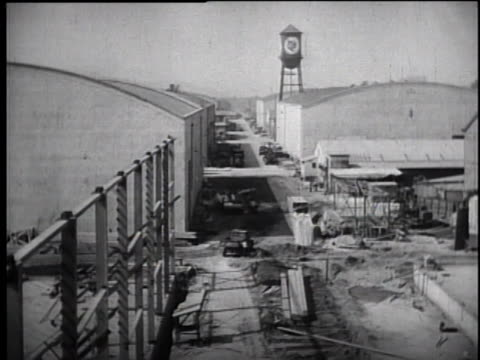 1930's warner bros studios set construction, water tower - warner bros. stock videos & royalty-free footage
