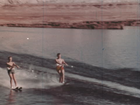 """1960's - water skiing in arizona - """"archive farms"""" stock videos & royalty-free footage"""
