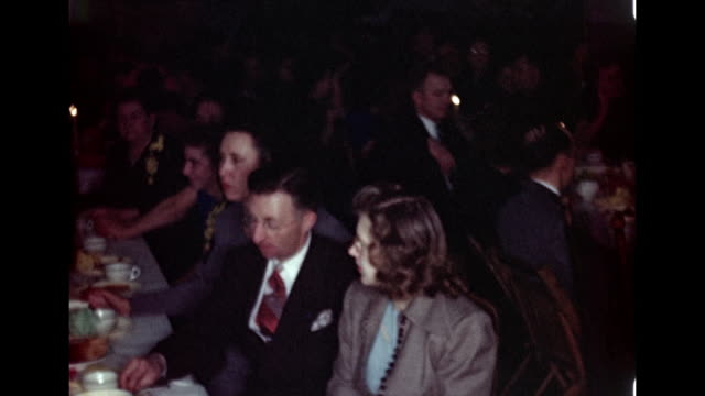 1940's wedding - guests eating dinner at reception - 1945 stock videos and b-roll footage