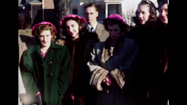 1940's wedding - newlywed couple with bridesmaids - wedding guest stock videos and b-roll footage