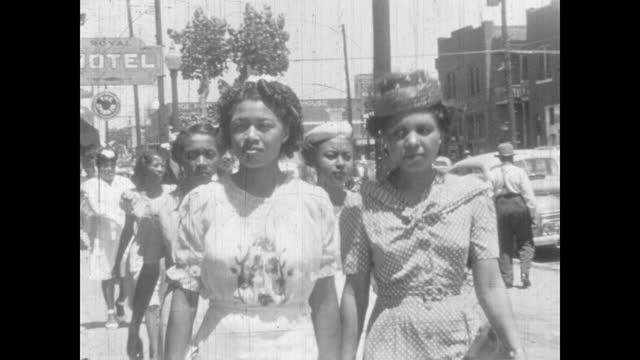 1940's - well dressed people on the streets of greenwood, tulsa, oklahoma, usa - african american culture stock videos & royalty-free footage