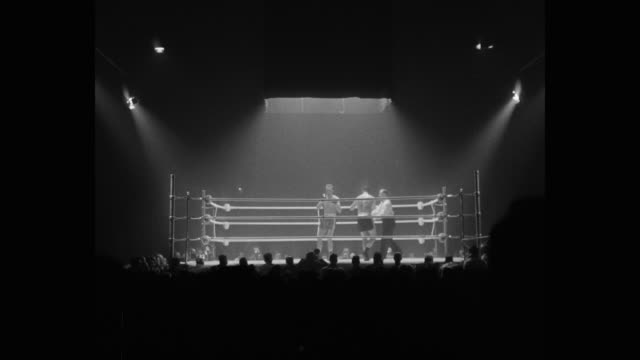 1950's wide shot of boxers competing in boxing ring - boxing stock videos & royalty-free footage