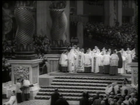 s wide shot of cardinal elevation ceremony with pope / rome / st peter's basilica - pope stock videos & royalty-free footage