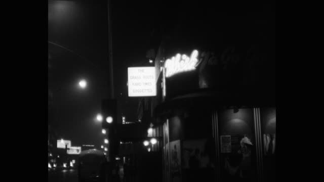 1950's - wide shot of whisky a go go nightclub at night, west hollywood, california, usa - west hollywood stock videos & royalty-free footage