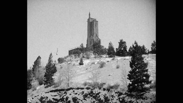 1950's wide shot of will rogers shrine of the sun chapel, colorado springs, colorado, usa - chapel stock videos & royalty-free footage