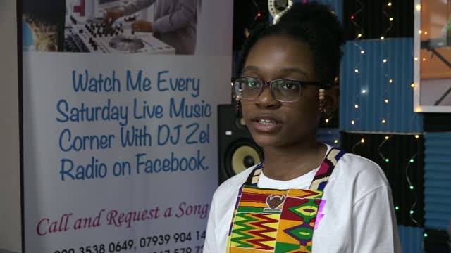 s youngest radio dj raises money for education projects; england: london: newham: int various of zelda manteaw broadcasting from her home radio... - news not politics video stock e b–roll