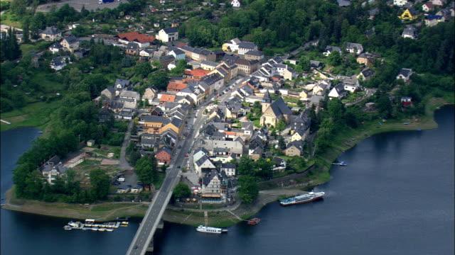 saalburg  - aerial view - thuringia,  germany - turingia video stock e b–roll