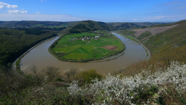 Saar River Loop near Hamm, Taben-Rodt, Saar Valley, Rhineland-Palatinate, Germany