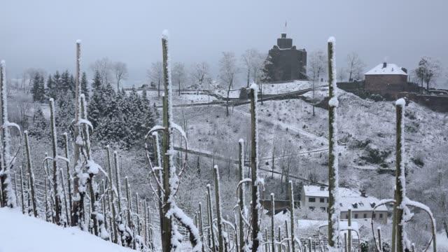 Saarburg, castle ruin in winter, Saar Valley, Rhineland-Palatinate, Germany, Europe