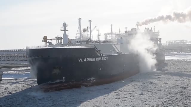 sabetta, russia, -march 29: shipping company mitsui o.s.k. lines ltd. on thursday put an icebreaker tanker into service in the arctic sea to... - arctic stock videos & royalty-free footage