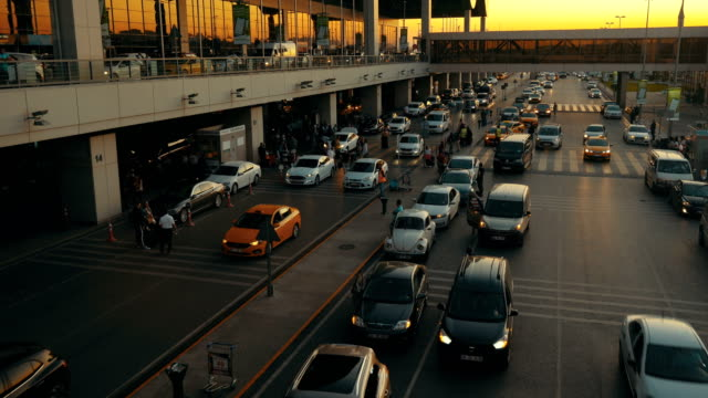 sabiha gokcen istanbul airport at sunset - taxi stock videos & royalty-free footage