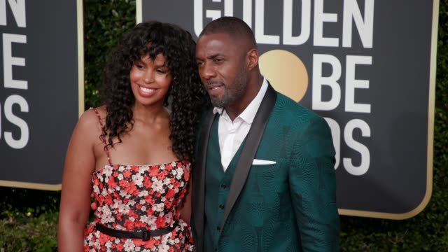 vidéos et rushes de sabrina dhowre, idris elba at 76th annual golden globe awards - arrivals in los angeles, ca 1/6/19 - 4k footage - golden globe awards