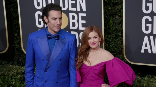 sacha baron cohen and isla fisher at 77th annual golden globe awards at the beverly hilton hotel on january 05, 2020 in beverly hills, california. - sacha baron cohen stock-videos und b-roll-filmmaterial
