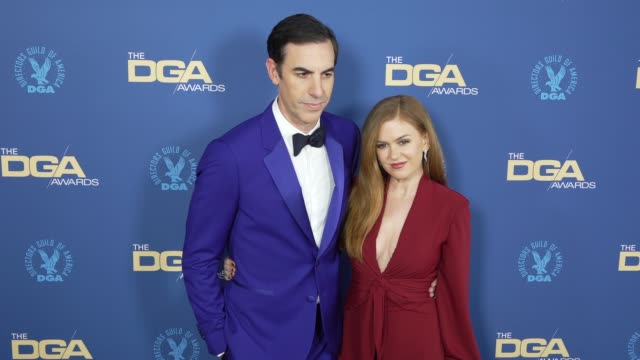 vídeos de stock, filmes e b-roll de sacha baron cohen and isla fisher at the 71st annual dga awards at the ray dolby ballroom at hollywood highland center on february 02 2019 in... - sacha baron cohen