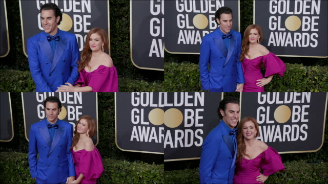 sacha baron cohen and isla fisher at the 77th annual golden globe awards at the beverly hilton hotel on january 05, 2020 in beverly hills, california. - sacha baron cohen stock-videos und b-roll-filmmaterial