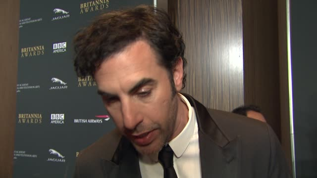 sacha baron cohen on how it feels to be honored with an award at 2013 bafta los angeles jaguar britannia awards presented by bbc america in beverly... - sacha baron cohen stock-videos und b-roll-filmmaterial