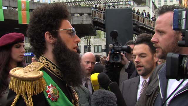 sacha baron cohen on nicolas sarkozy, the french elections at the dictator: world premiere at the royal festival hall on may 10, 2012 in london,... - royal festival hall stock videos & royalty-free footage