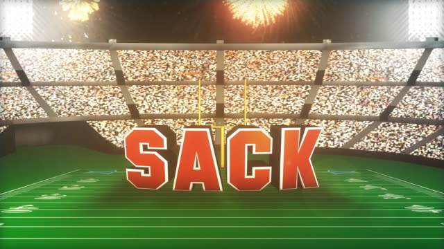 stockvideo's en b-roll-footage met sack! football animation with alpha - westers schrift